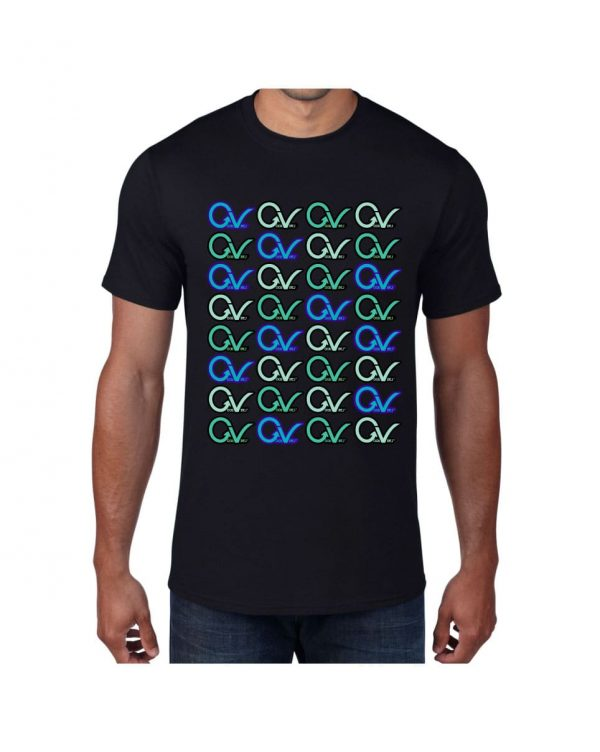 Good Vibes Multi Colored GV Layout Black T-shirt