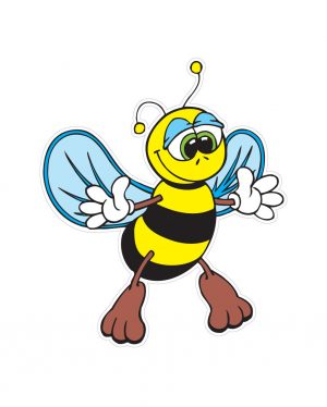 "Bee Magnet or Sticker for Indoor or Outdoor Use 5"" x 6"""