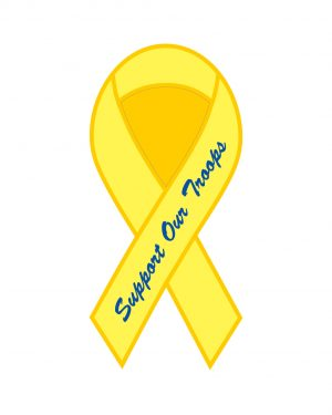 "Support Our Troops Ribbon Magnet or Sticker for Indoor or Outdoor Use 8"" x 4"""