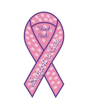 "Support Breast Cancer Magnet or Sticker for Indoor or Outdoor Use 8"" x 4"""