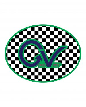 "Good Vibes Green Checker Sticker for Indoor or Outdoor Use 4"" x 3"""