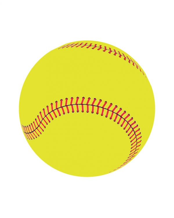 "Yellow Softball Magnet or Sticker for Indoor or Outdoor Use 5"" x 5"""
