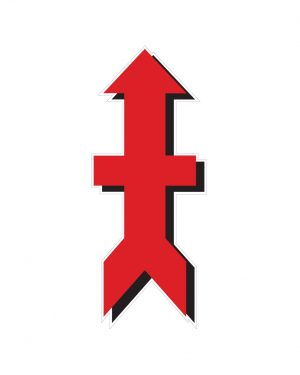 """Military Red Arrow Magnet or Sticker for Indoor or Outdoor Use 8"""" x 3"""""""