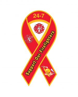 "Fire Department 24-7 Ribbon Magnet or Sticker for Indoor or Outdoor Use 8"" x 4"""