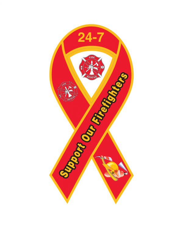 """Fire Department 24-7 Ribbon Magnet or Sticker for Indoor or Outdoor Use 8"""" x 4"""""""