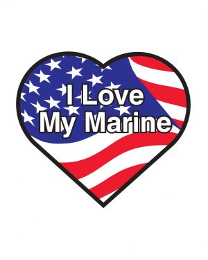 "I Love My Marine Magnet or Sticker for Indoor or Outdoor Use 5"" x 4"""