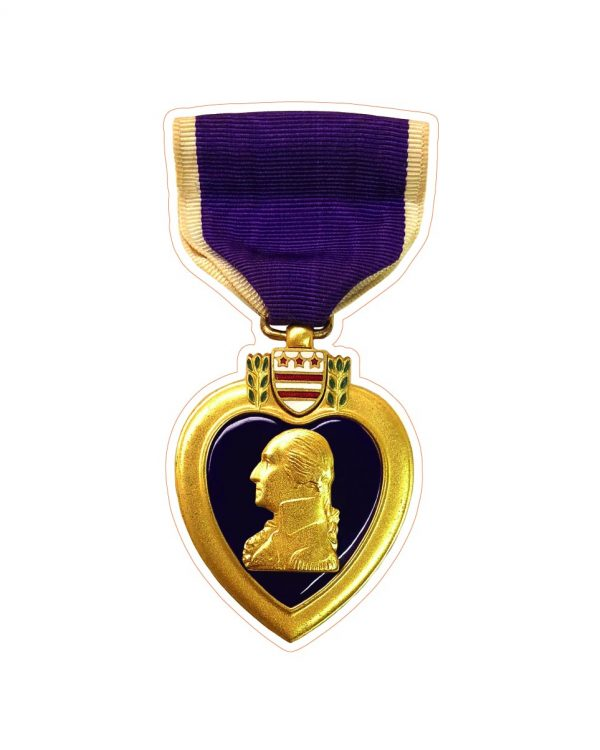 """Purple Heart Magnet or Sticker for Indoor or Outdoor Use 6"""" x 3"""""""