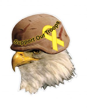 "Eagle Support Troops with Helmet Magnet or Sticker for Indoor or Outdoor Use 4"" x 5"""