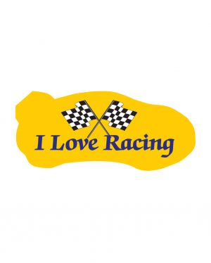 """I Love Racing Magnet or Sticker for Indoor or Outdoor Use 7"""" x 3"""""""