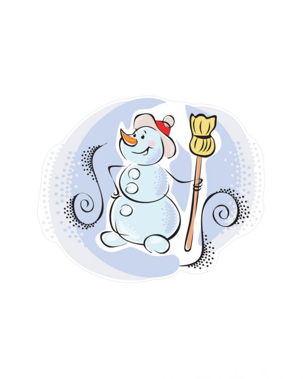 """Snowman Magnet or Sticker for Indoor or Outdoor Use 6"""" x 5"""""""