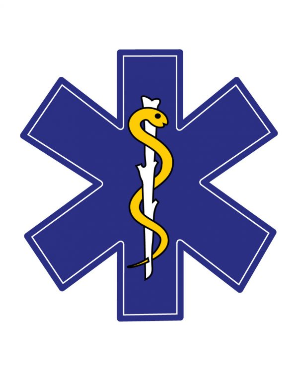 "Star of Life Magnet or Sticker for Indoor or Outdoor Use 5"" x 5"""