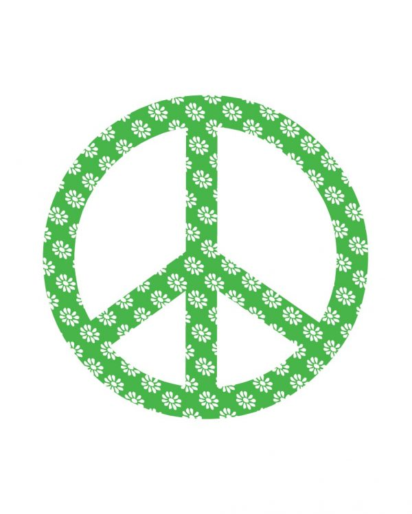 """Peace Sign Green Magnet or Sticker for Indoor or Outdoor Use 6"""" x 6"""""""