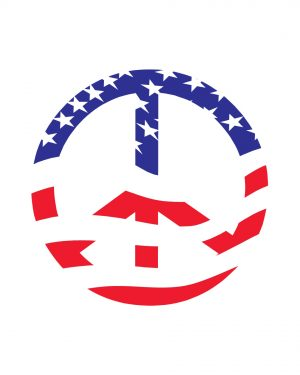 """Peace Sign American Flag Magnet or Sticker for Indoor or Outdoor Use 6"""" x 6"""""""