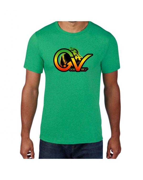 Good Vibes Rastafarian Lion GV Green T-shirt