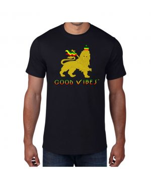 Good Vibes Rastafarian Lion Black T-shirt