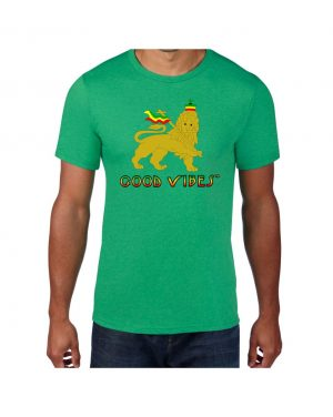 Good Vibes Rastafarian Lion Green T-shirt
