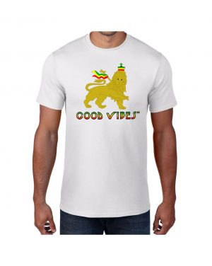 Good Vibes Rastafarian Lion White T-shirt