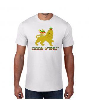 Good Vibes Rastafarian Lion White T-shirt