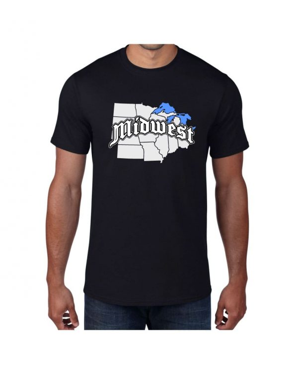Good Vibes Midwest Map Black T-shirt