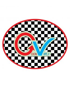 "Good Vibes Red Light Blue Sticker for Indoor or Outdoor Use 4"" x 3"""