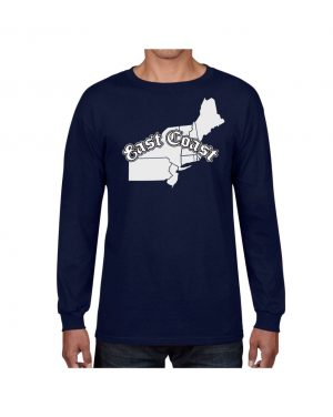 Good Vibes East Coast Map Navy Long Sleeve T-shirt