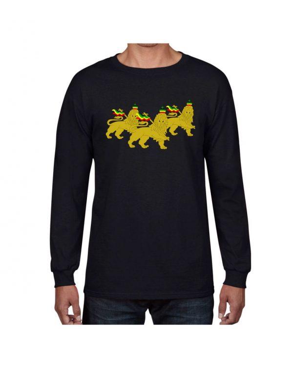 Good Vibes 3 Lions Rastafarian Black Long Sleeve T-shirt