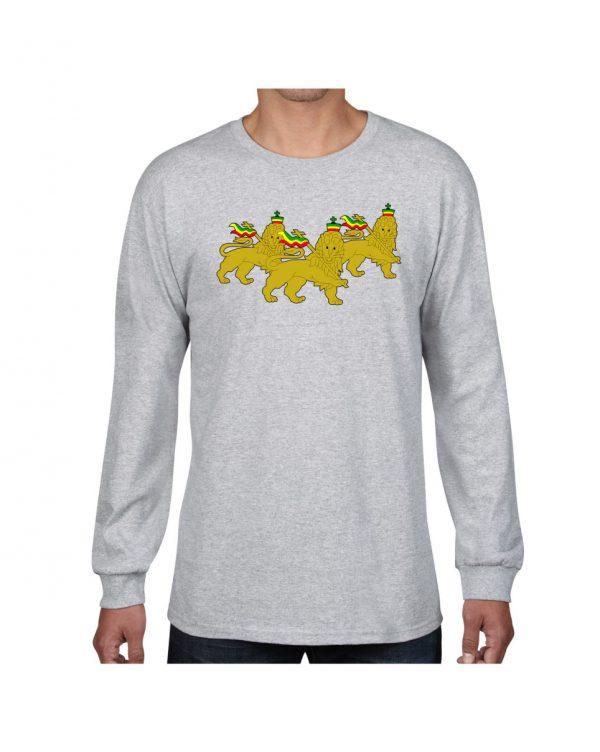 Good Vibes 3 Lions Rastafarian Gray Long Sleeve T-shirt
