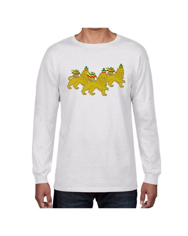 Good Vibes 3 Lions Rastafarian White Long Sleeve T-shirt