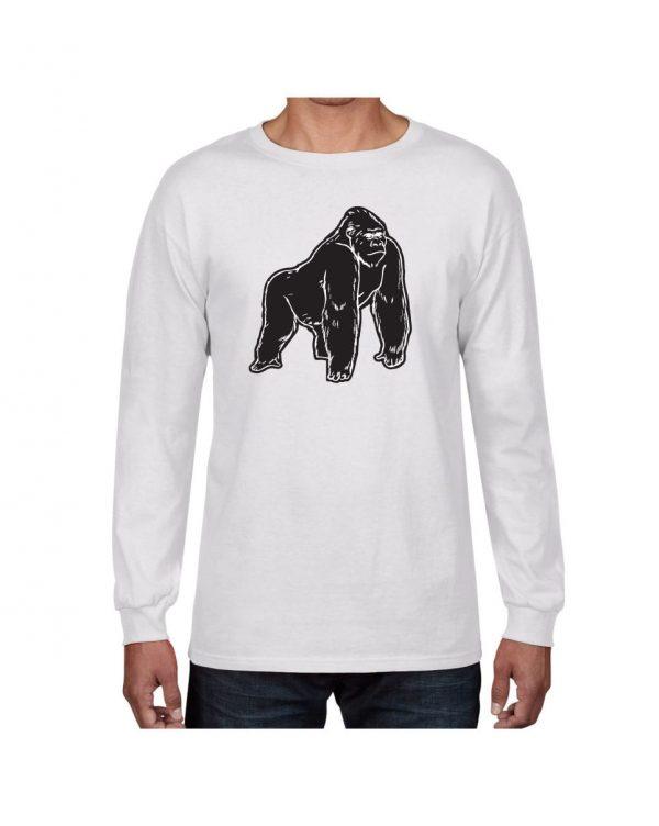 Good Vibes Black Gorilla White Long Sleeve Tshirt