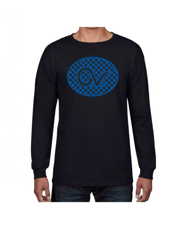 Good Vibes Blue Black Checker Black Long Sleeve T-shirt