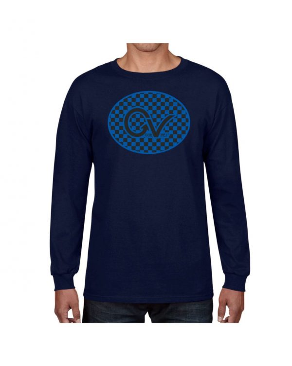 Good Vibes Blue Black Checker Navy Long Sleeve T-shirt
