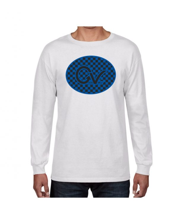 Good Vibes Blue Black Checker White Long Sleeve T-shirt