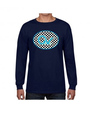 Good Vibes Blue Light Green Checker Navy Long Sleeve T-shirt