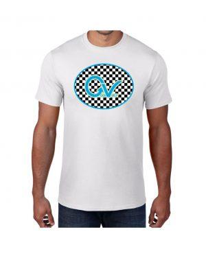 Good Vibes Blue Light Green Checker White T-shirt