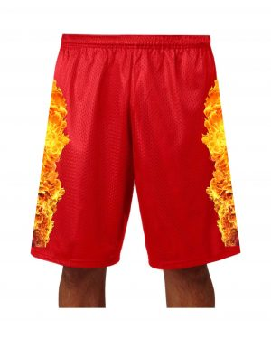 "Good Vibes™ Men's Red Basketball Shorts with Fire Logo. Style A4 11"" Adult Utility Mesh  with 2 Ply Mesh Body"