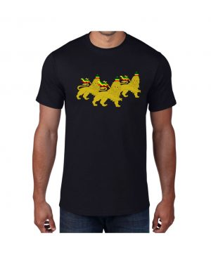 Good Vibes 3 Lions Rastafarian Black T-shirt