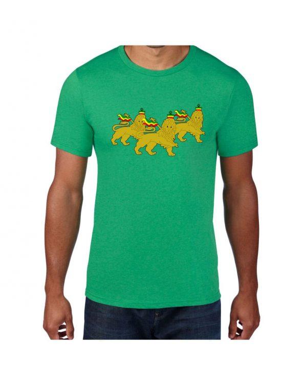 Good Vibes 3 Lions Rastafarian Green T-shirt
