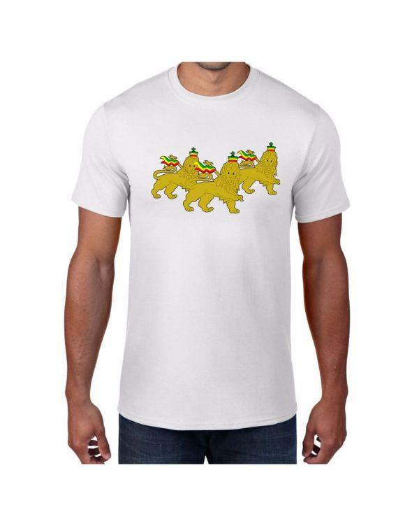 Good Vibes 3 Lions Rastafarian White T-shirt