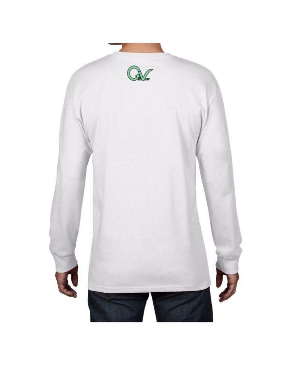 Good Vibes Green GV Logo White Long Sleeve T-shirt