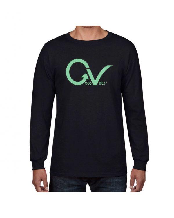 Good Vibes Green GV Logo Black Long Sleeve T-shirt
