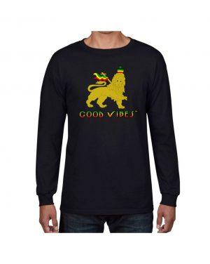 Good Vibes Rastafarian Lion Black Long Sleeve T-shirt