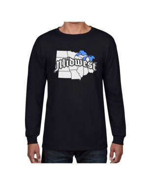 Good Vibes Midwest Map Black Long Sleeve T-shirt