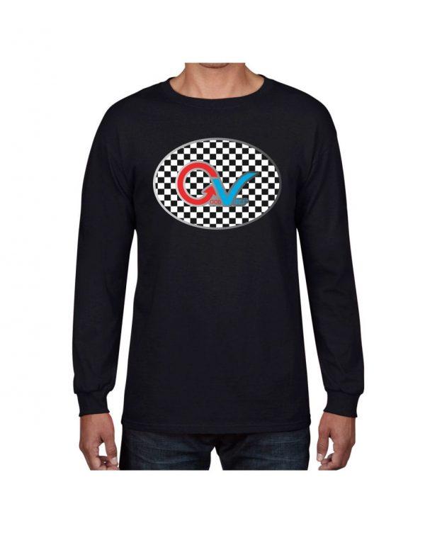 Good Vibes Multi Color Checker GV Logo Black Long Sleeve T-shirt