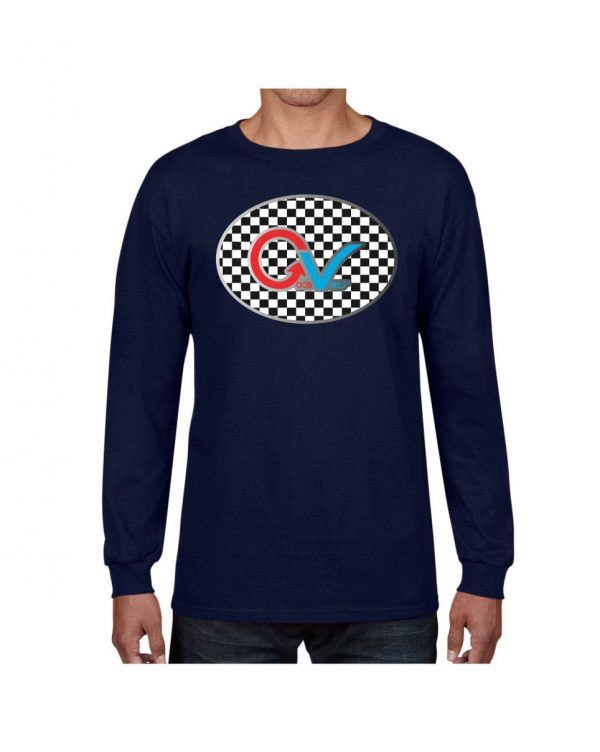 Good Vibes Multi Color Checker GV Logo Navy Long Sleeve Tshirt