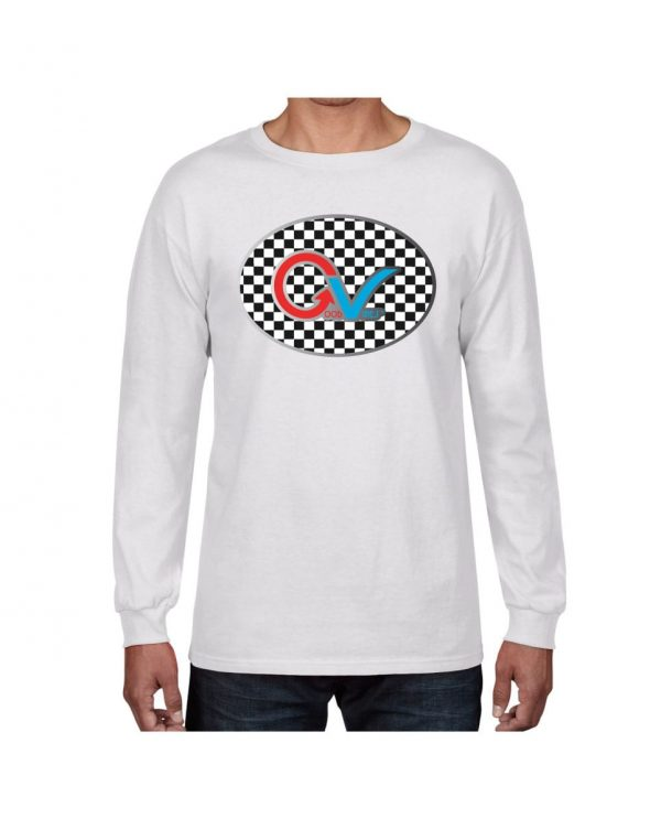 Good Vibes Multi Color Checker GV Logo White Long Sleeve Tshirt