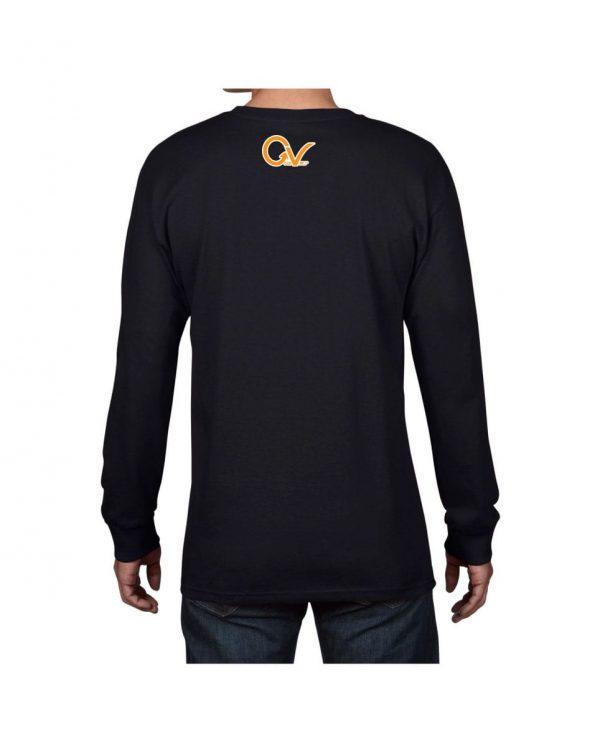 Good Vibes Orange Checker Logo Black Long Sleeve T-shirt
