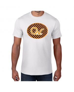 Good Vibes Orange Checker Logo White T-shirt