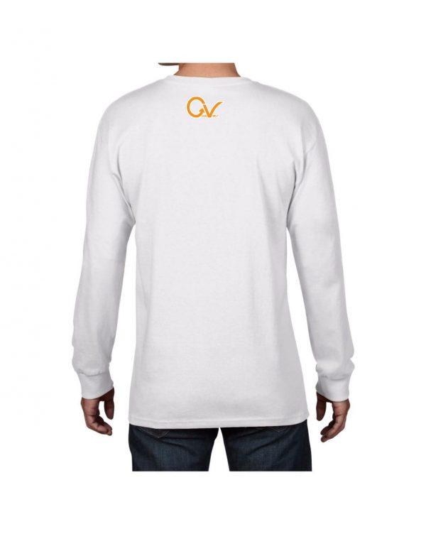Good Vibes Orange Checker Logo White Long Sleeve T-shirt