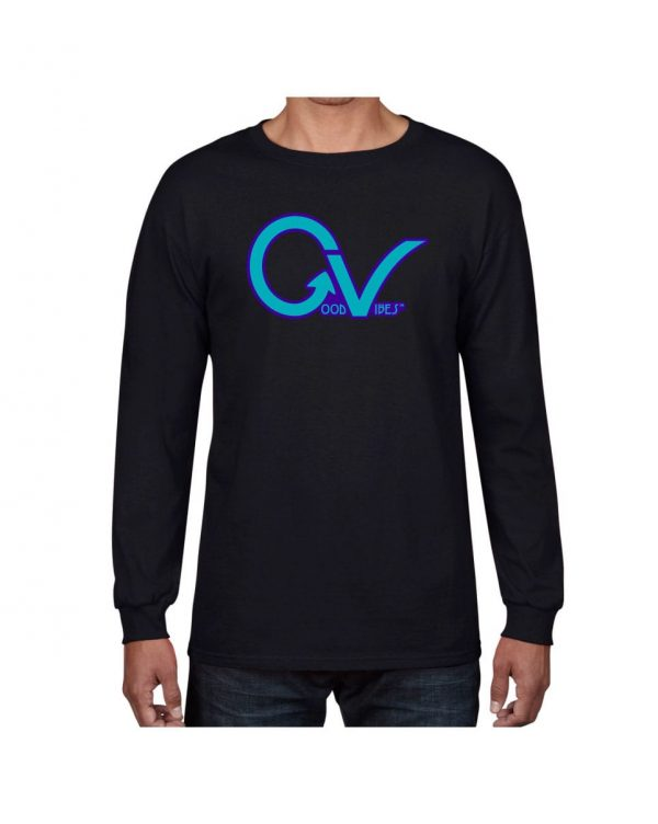 Good Vibes Purple GV Black Long Sleeve T-shirt