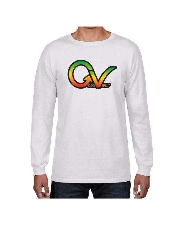 Good Vibes Rastafarian GV White Long Sleeve Tshirt